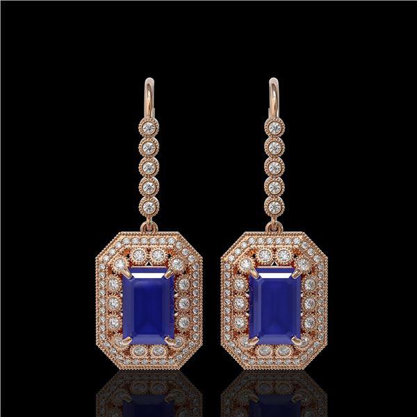 14.16 ctw Sapphire & Diamond Victorian Earrings 14K Rose Gold - REF-318M2G