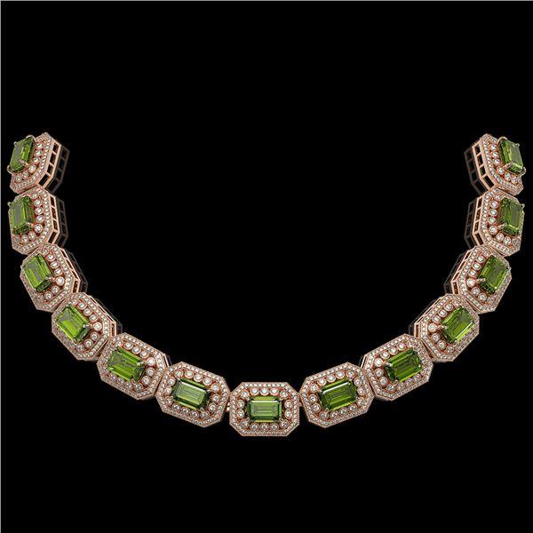 130.05 ctw Tourmaline & Diamond Victorian Necklace 14K Rose Gold - REF-3619Y6X