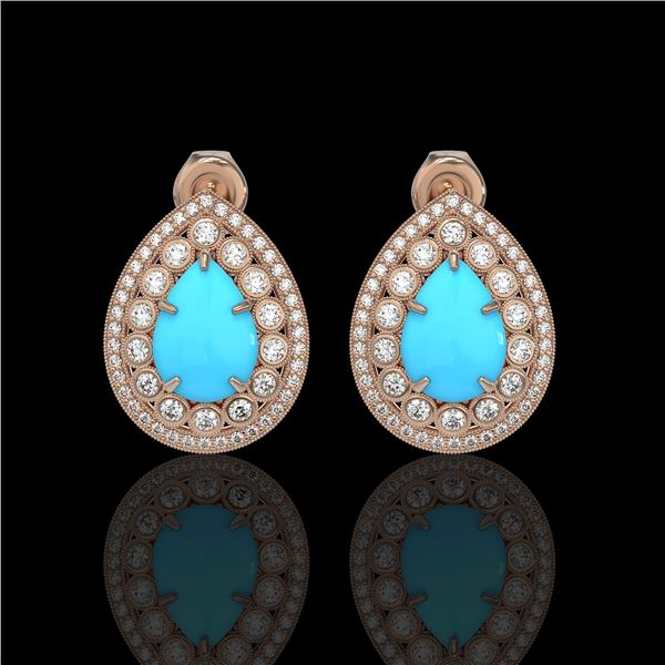 7.54 ctw Turquoise & Diamond Victorian Earrings 14K Rose Gold - REF-218N2F