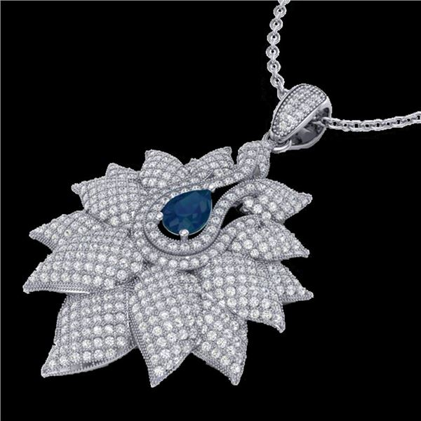 3 ctw Sapphire & Micro Pave VS/SI Diamond Necklace 18k White Gold - REF-290F9M