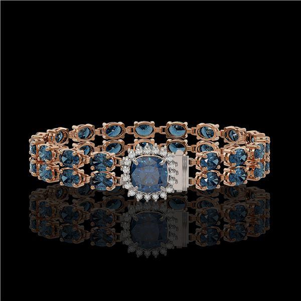 17.87 ctw London Topaz & Diamond Bracelet 14K Rose Gold - REF-178R2K