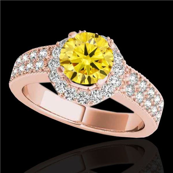 1.4 ctw Certified SI/I Fancy Intense Yellow Diamond Ring 10k Rose Gold - REF-204H5R