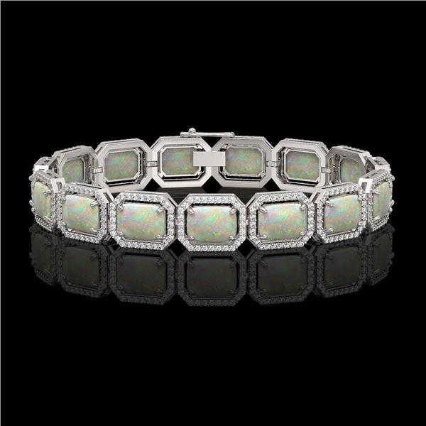24.37 ctw Opal & Diamond Micro Pave Halo Bracelet 10k White Gold - REF-372W8H