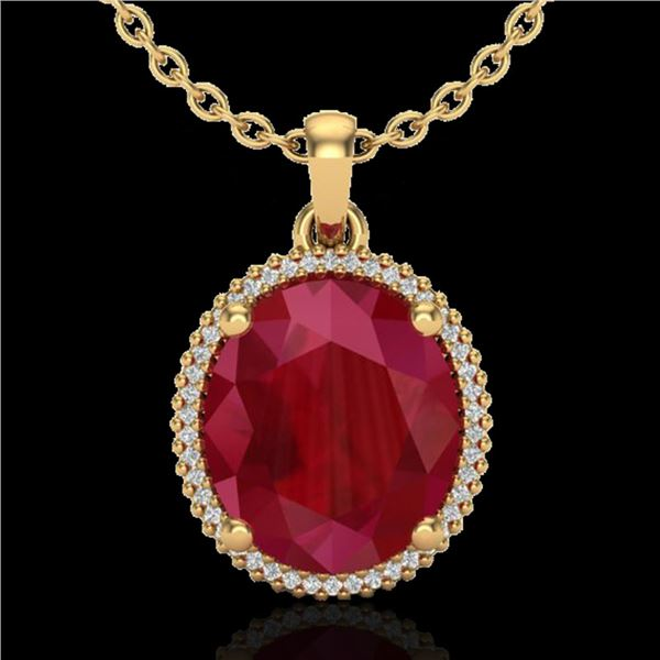 12 ctw Ruby & Micro Pave VS/SI Diamond Necklace 18k Yellow Gold - REF-104F5M