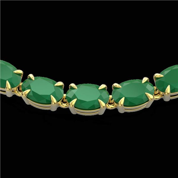 40 ctw Emerald Eternity Tennis Necklace 14k Yellow Gold - REF-254M5G