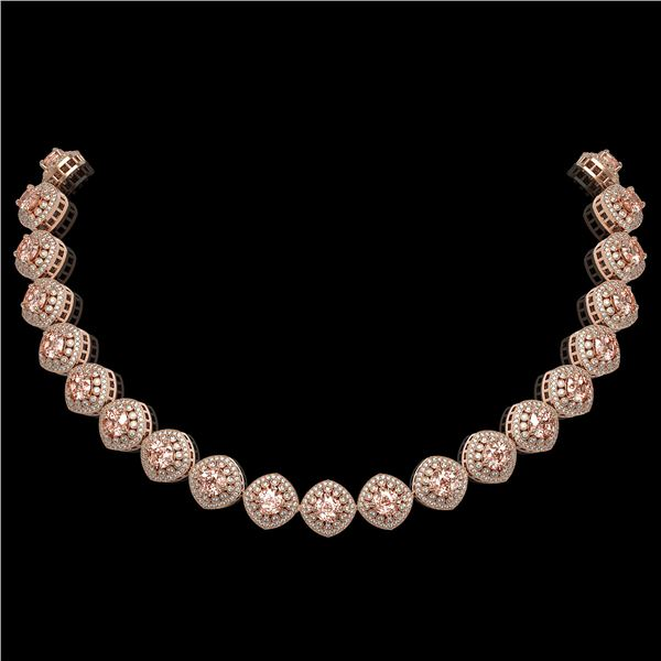 68.97 ctw Morganite & Diamond Victorian Necklace 14K Rose Gold - REF-2349W8H