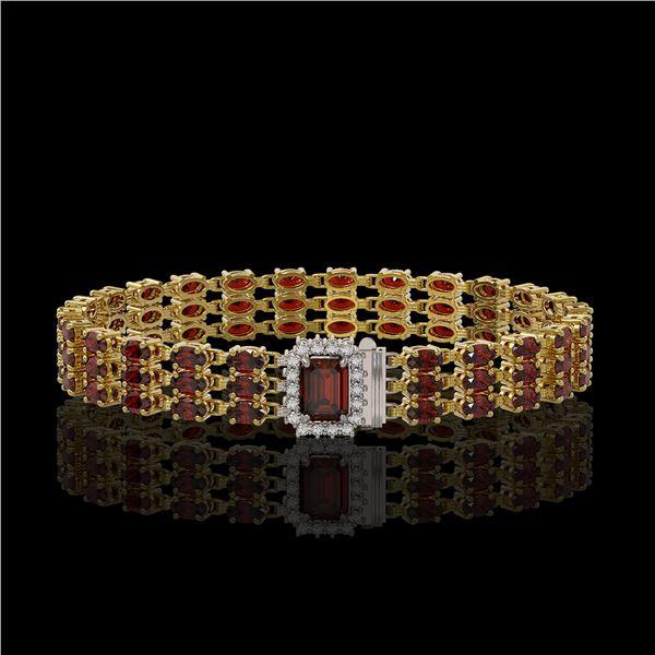21.51 ctw Garnet & Diamond Bracelet 14K Yellow Gold - REF-318W2H