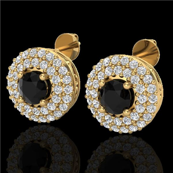 1.40 ctw Micro VS/SI Diamond Designer Earrings DOUBLE 18k Yellow Gold - REF-84N9F