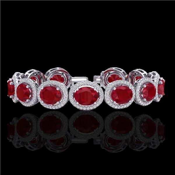 30 ctw Ruby & Micro Pave VS/SI Diamond Certified Bracelet 10k White Gold - REF-454M5G