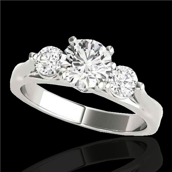 1.50 ctw Certified Diamond 3 Stone Ring 10k White Gold - REF-225N2F