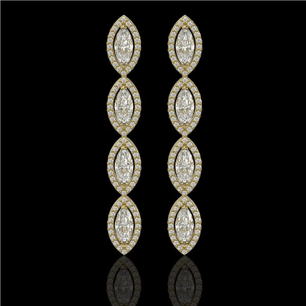 5.33 ctw Marquise Cut Diamond Micro Pave Earrings 18K Yellow Gold - REF-739R6K