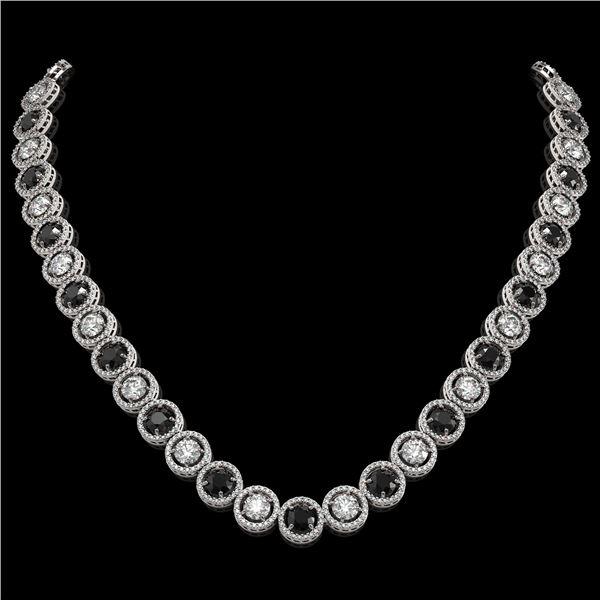 32.10 ctw Black & Diamond Micro Pave Necklace 18K White Gold - REF-2386R4K