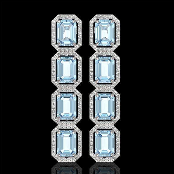 19.49 ctw Aquamarine & Diamond Micro Pave Halo Earrings 10k White Gold - REF-323W5H