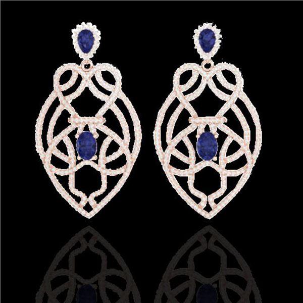 7 ctw Tanzanite & Micro VS/SI Diamond Heart Earrings 14k Rose Gold - REF-381G8W