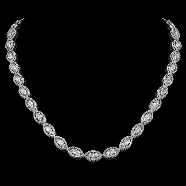 24.42 ctw Marquise Cut Diamond Micro Pave Necklace 18K White Gold - REF-3359Y5X