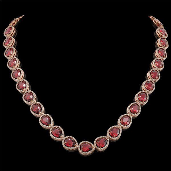 41.6 ctw Tourmaline & Diamond Micro Pave Halo Necklace 10k Rose Gold - REF-1072X8A
