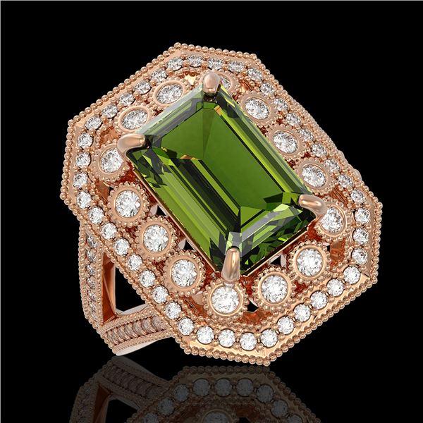6.08 ctw Certified Tourmaline & Diamond Victorian Ring 14K Rose Gold - REF-208M8G