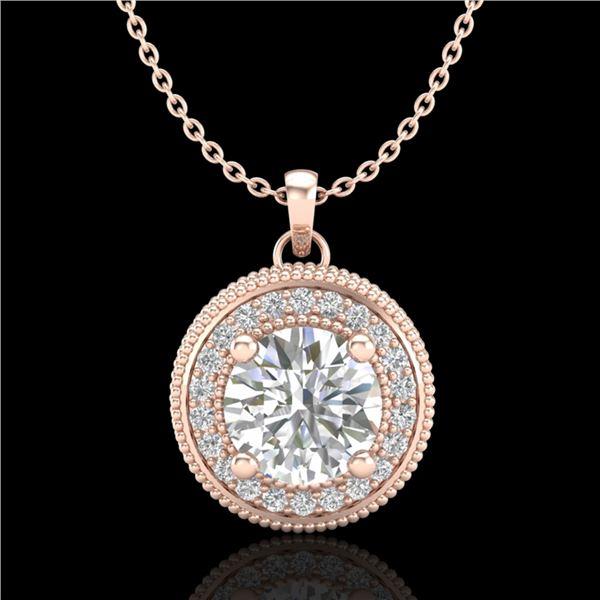 1.25 ctw VS/SI Diamond Solitaire Art Deco Stud Necklace 18k Rose Gold - REF-218X2A