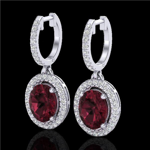 3.75 ctw Garnet & Micro Pave VS/SI Diamond Earrings Halo 18k White Gold - REF-107M3G