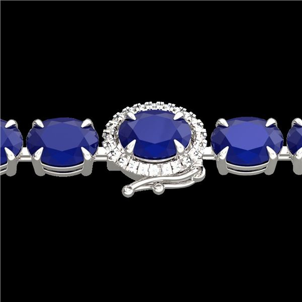 37 ctw Sapphire & VS/SI Diamond Micro Pave Bracelet 14k White Gold - REF-272Y8X