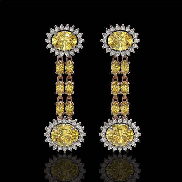 8.35 ctw Citrine & Diamond Earrings 14K Rose Gold - REF-144M2G