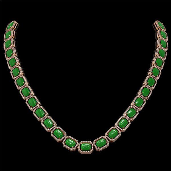 56.69 ctw Jade & Diamond Micro Pave Halo Necklace 10k Rose Gold - REF-673N8F
