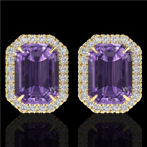 9.40 ctw Amethyst & Micro Pave VS/SI Diamond Earrings 18k Yellow Gold - REF-77N8F