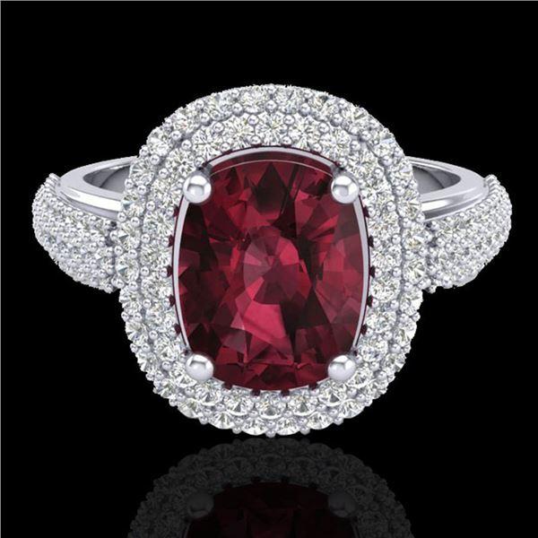 3.10 ctw Garnet & Micro Pave VS/SI Diamond Certified Ring 10k White Gold - REF-100N2F