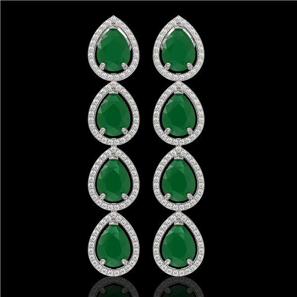 16.01 ctw Emerald & Diamond Micro Pave Halo Earrings 10k White Gold - REF-236F4M