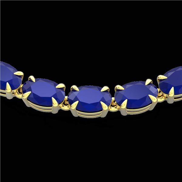 40 ctw Sapphire Eternity Tennis Necklace 14k Yellow Gold - REF-218F2M