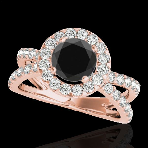 2.01 ctw Certified VS Black Diamond Solitaire Halo Ring 10k Rose Gold - REF-74Y6X