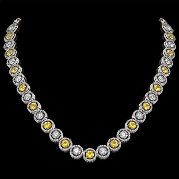 31.64 ctw Canary & Diamond Micro Pave Necklace 18K White Gold - REF-3354K5Y