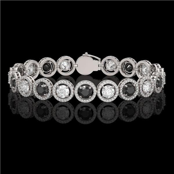 13.96 ctw Black & Diamond Micro Pave Bracelet 18K White Gold - REF-1071X3A