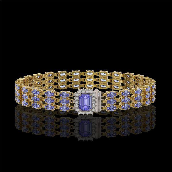 24.18 ctw Tanzanite & Diamond Bracelet 14K Yellow Gold - REF-318G2W