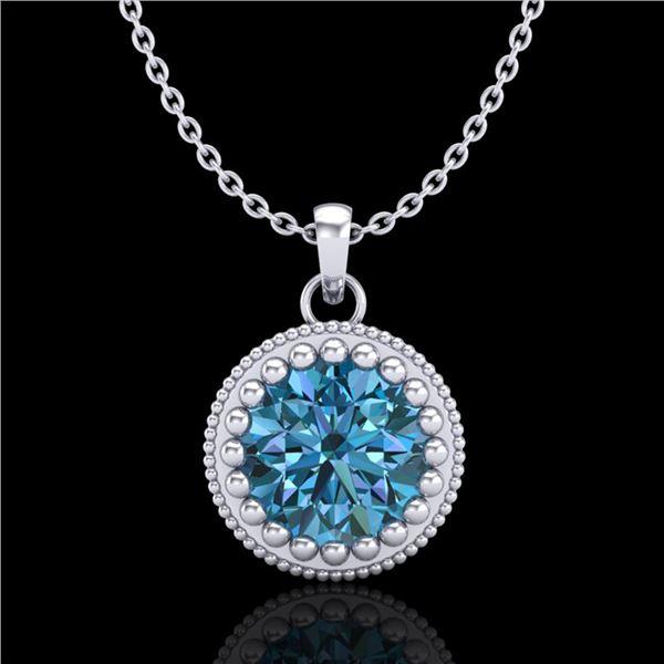 1 ctw Intense Blue Diamond Art Deco Stud Necklace 18k White Gold - REF-158M2G