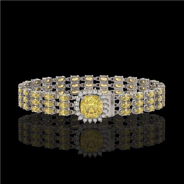 25.15 ctw Citrine & Diamond Bracelet 14K White Gold - REF-281A8N