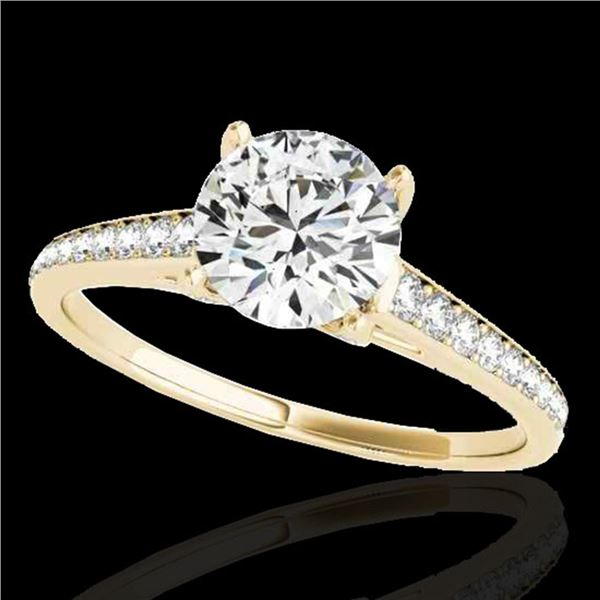 1.5 ctw Certified Diamond Solitaire Ring 10k Yellow Gold - REF-190G9W
