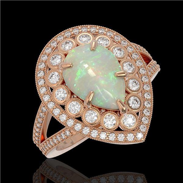 4.19 ctw Certified Opal & Diamond Victorian Ring 14K Rose Gold - REF-148Y2X
