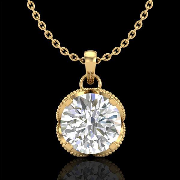 1.13 ctw VS/SI Diamond Solitaire Art Deco Necklace 18k Yellow Gold - REF-217R3K