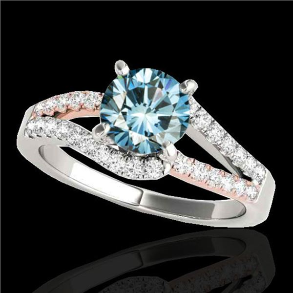 1.65 ctw SI Certified Blue Diamond Solitaire Ring 10k 2Tone Gold - REF-163N6F