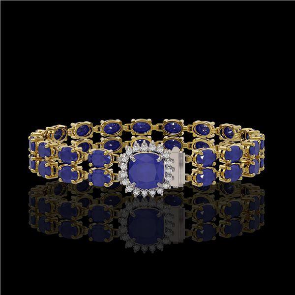 19.85 ctw Sapphire & Diamond Bracelet 14K Yellow Gold - REF-245W5H