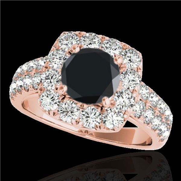 2.5 ctw Certified VS Black Diamond Solitaire Halo Ring 10k Rose Gold - REF-122R8K