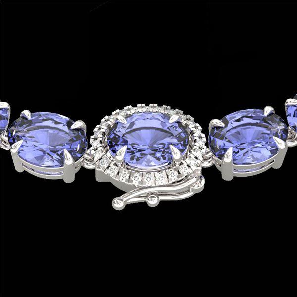 80 ctw Tanzanite & VS/SI Diamond Micro Necklace 14k White Gold - REF-890Y9X