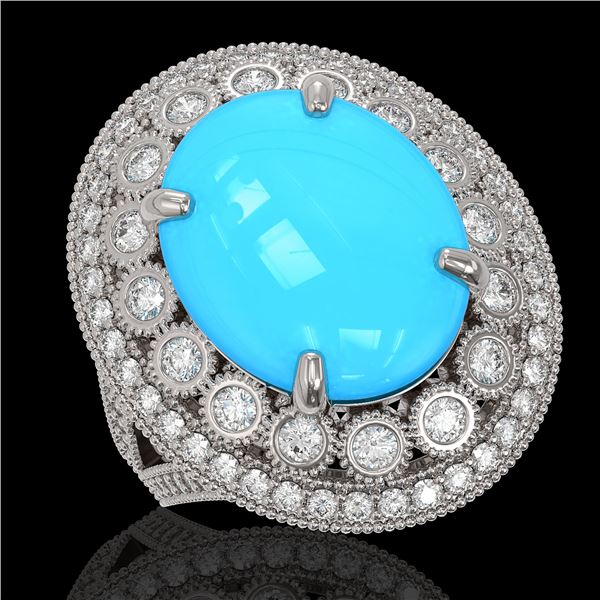 9.07 ctw Turquoise & Diamond Victorian Ring 14K White Gold - REF-245H5R