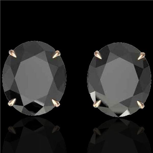 18 ctw Black Diamond Designer Stud Earrings 14k Rose Gold - REF-381N8F