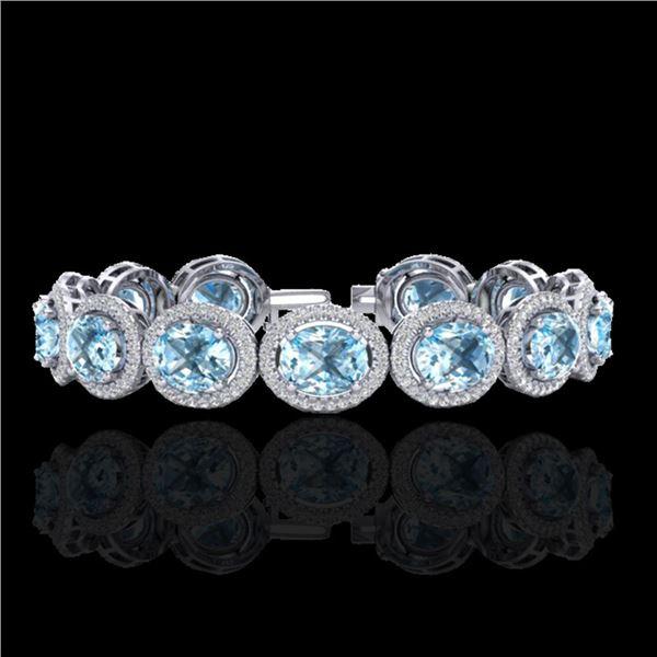 30 ctw Sky Blue Topaz & Micro Pave VS/SI Diamond Bracelet 10k White Gold - REF-360H2R