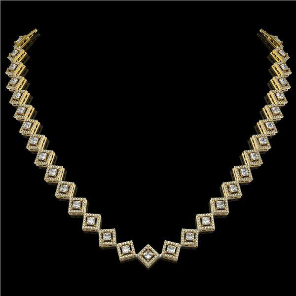 16.4 ctw Princess Cut Diamond Micro Pave Necklace 18K Yellow Gold - REF-1402H6R