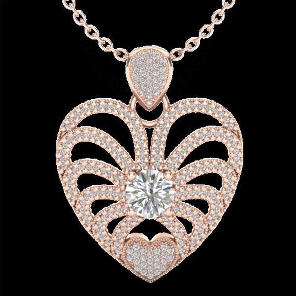 3 ctw Micro Pave VS/SI Diamond Certified Heart Necklace 14k Rose Gold - REF-477W3H