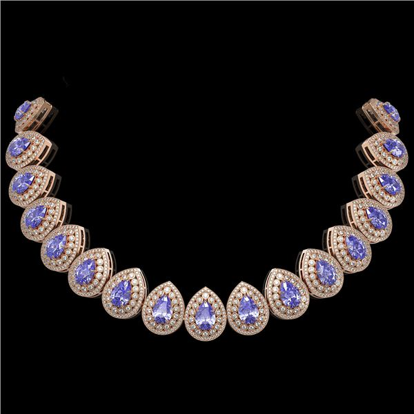 108.42 ctw Tanzanite & Diamond Victorian Necklace 14K Rose Gold - REF-5818R2K