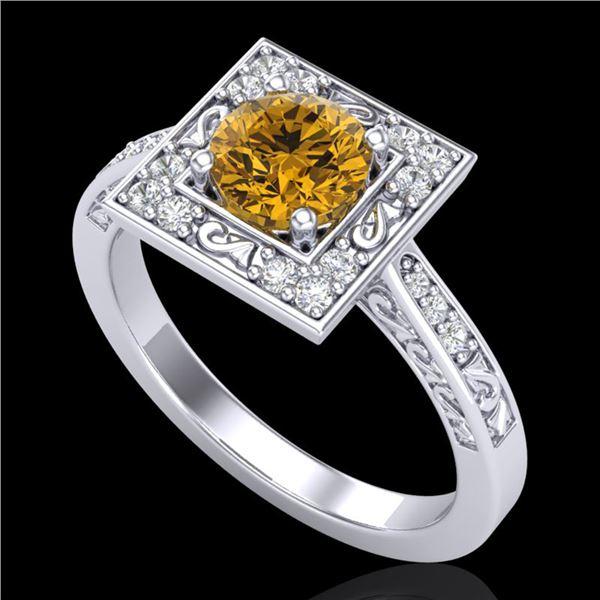 1.1 ctw Intense Fancy Yellow Diamond Art Deco Ring 18k White Gold - REF-169Y3X
